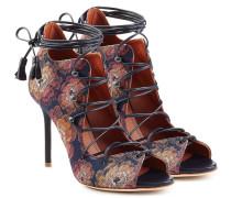 Open-Toe-Stilettos aus Jacquard mit Schnürung