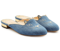 Flache Mules Kitty aus Denim