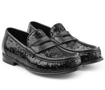 Loafers mit Leder und Pailletten