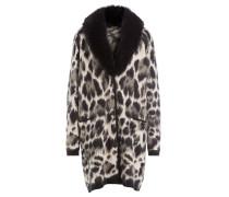 Mantel mit Animal-Print und Fuchsfellkragen