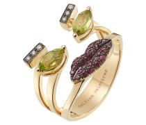 Ring aus 18kt Gelbgold mit Diamanten, Rubinen und Peridoten