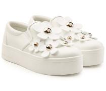 Plateau-Sneakers aus Leder mit Blüten-Applikationen