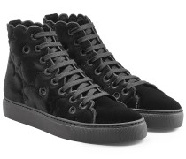 High Top Sneakers aus Samt mit Cut Outs