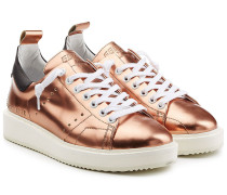 Leder-Sneakers in Metallic-Optik