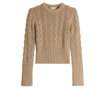 Pullover mit Zopfstrickmuster aus Merinowolle und Kaschmir