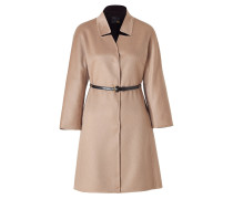Camel Cashmere Coat with Studded Leather Belt
