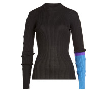 Rundhalspullover mit Wolle im Color Block Look