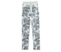 Bedruckte Straight Leg Jeans aus Baumwolle