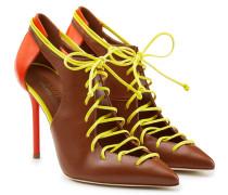 Schnür-Stilettos aus Leder mit Cut-Outs