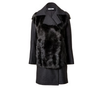 Fur Panel Coat in Dark Grey