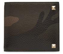 Camouflage-Portemonnaie aus Leder mit Nieten