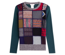 Patchwork-Pullover mit Wolle