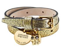 Wickelarmband aus geprägtem Leder mit Totenkopf