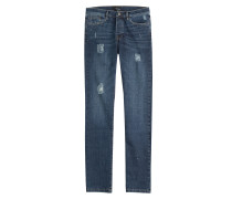 Used-Jeans aus Baumwoll-Stretch