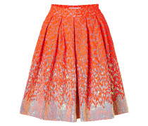 Sequined Brocade Skirt in Fluro Orange