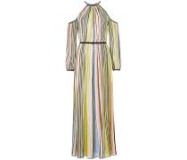 Gestreiftes Cold-Shoulder-Kleid