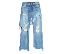 Distressed Jeans im Layer Look