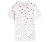 Bedrucktes T-Shirt aus Baumwolle und Leinen