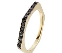 Hexagon-Ring aus 18kt Gelbgold mit schwarzen Diamanten