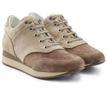 Veloursleder-Sneakers mit Wedge-Heel