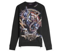 Bedrucktes Sweatshirt aus Baumwolle mit Zippern
