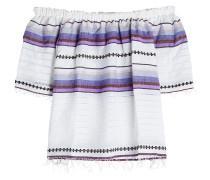 Gemusterte Off-Shoulder-Bluse aus Baumwolle