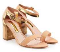 Sandalen aus Veloursleder mit Metallic-Akzent