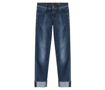 Straight-Leg-Jeans mit Umschlag