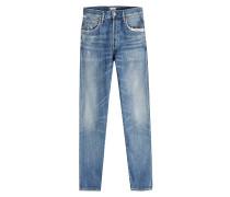 Cropped Skinny Jeans mit Used-Effekt