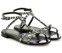 Bedruckte Leder-Sandalen mit Nieten