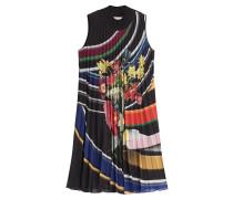 Flared-Dress mit Plisséefalten und Print