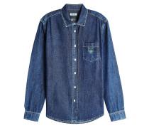 Jeanshemd aus Baumwolle mit Logo-Stickerei
