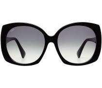 Oversize-Sonnenbrille mit Leder