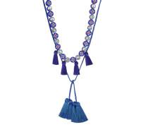 Halskette mit Schmucksteinen und Quasten