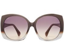 Oversize-Sonnenbrille mit Leder-Detail