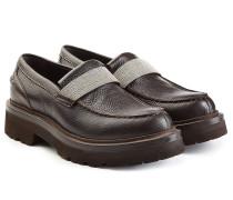 Plateau-Loafer aus strukturiertem Leder