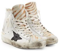 High-Top-Sneakers Francy aus Leder mit Kalbsfell