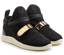 High Top Sneakers aus Veloursleder mit Zierschnalle