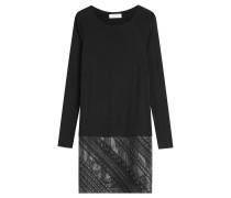 Kleid aus Stretch-Jersey mit Rock in Leder-Optik