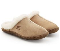 Gefütterte Veloursleder-Slippers