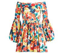 Bedrucktes Off-Shoulder-Kleid mit Baumwolle