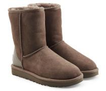 Gefütterte Boots Classic Short aus Veloursleder mit Metallic-Details