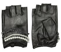 Fingerlose Handschuhe aus Leder mit Décor
