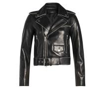 Biker-Jacke aus Lammleder mit Kontrastpaspeln