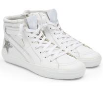 High Top Sneakers Slide aus Leder mit Kristallen