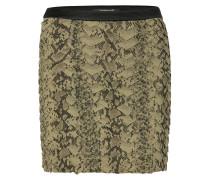 Olive and Black Python Print Silk Skirt