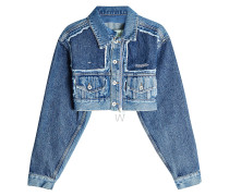 Cropped Jeansjacke im Patchwork Look