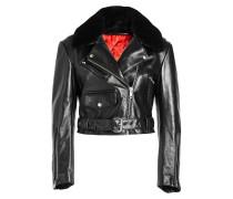 Biker-Jacke aus Leder mit Lammfell