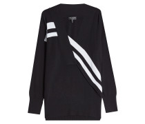 V-Pullover aus Merinowolle im Two Tone Look
