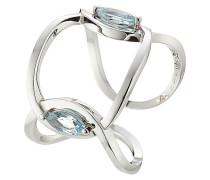 Ring Eye Kiss You aus 18kt Weißgold mit Aquamarinen